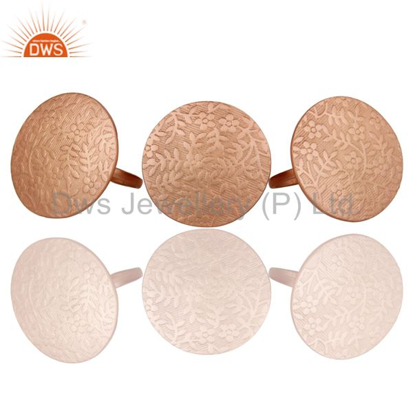 Exporter 18K Rose Gold Plated Brass Floral Engraved Set Of 3 Cocktail Ring