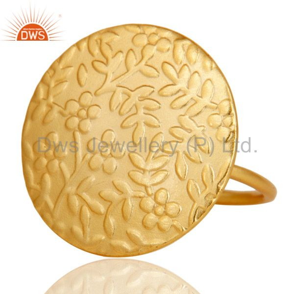 Exporter Textured Flower Carving 18k Gold Plated Brass Cocktail Ring