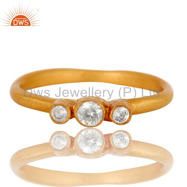 Exporter 18K Yellow Gold Plated Brass Three Stone Cubic Zirconia Stacking Ring