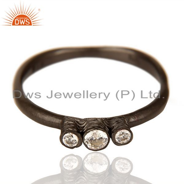Exporter Stackable Black Rhodium Plated CZ studded Trendy Sleek 92.5 Sterling Silver Ring