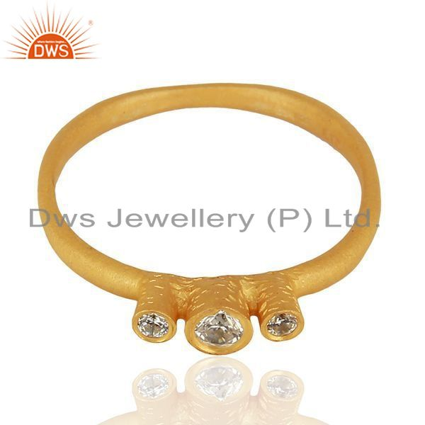 Exporter 925 Silver Yellow Gold Plated White Zircon Gemstone Ring Jewelry
