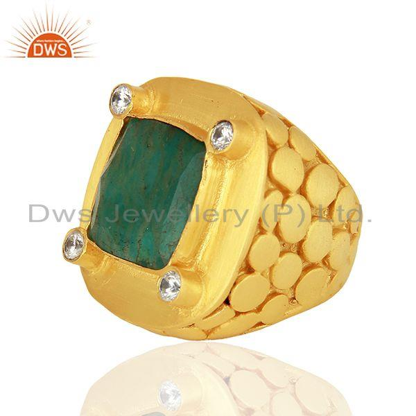Exporter CZ Amazonite Gemstone Gold Plated Stud Ring Jewelry Supplier
