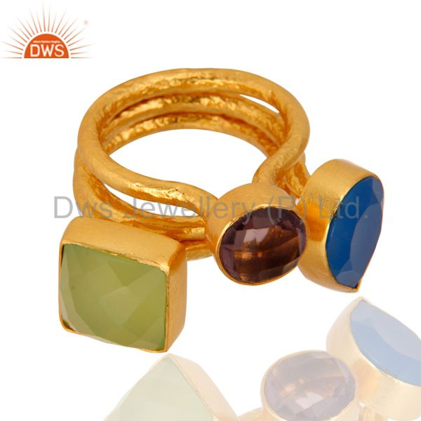 Exporter Aqua Blue Chalcedony And Hydro Amethyst 22K Gold Plated Hammered Band Ring