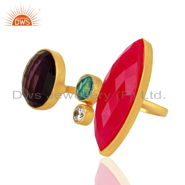 Exporter Hydro Gemstone Gold Plated Brass Fashion Ring Jewelry Supplier