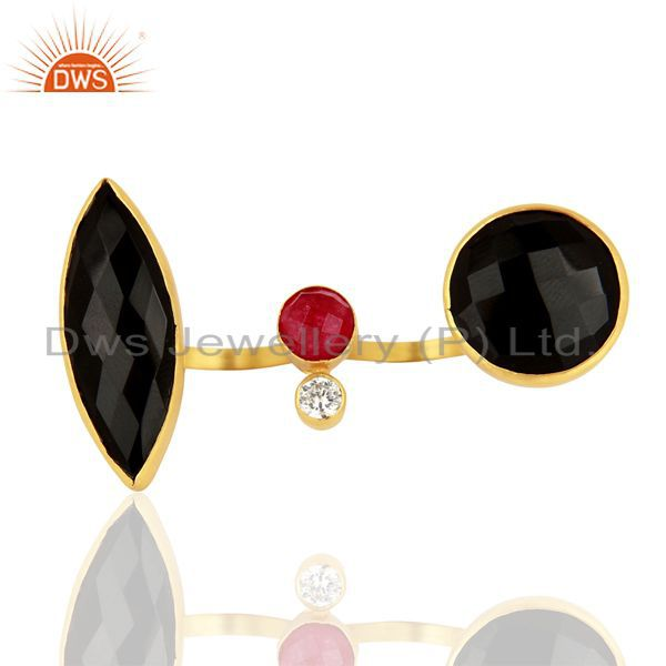 Exporter 24K Yellow Gold Plated Brass Red Aventurine And Black Onyx Two Finger Ring