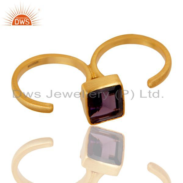 Exporter 18K Yellow Gold Plated Brass Hydro Amethyst Double Finger Open Ring