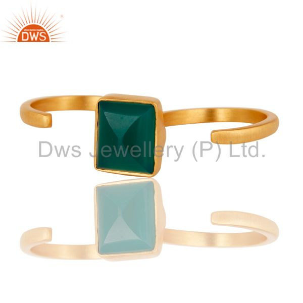Exporter 18K Yellow Gold Plated Brass Green Onyx Double Finger Open Ring