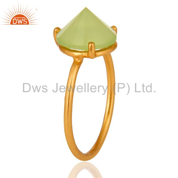 Exporter 14K Gold Plated 925 Sterling Silver Pointed Design Chalcedony Ring Jewelry
