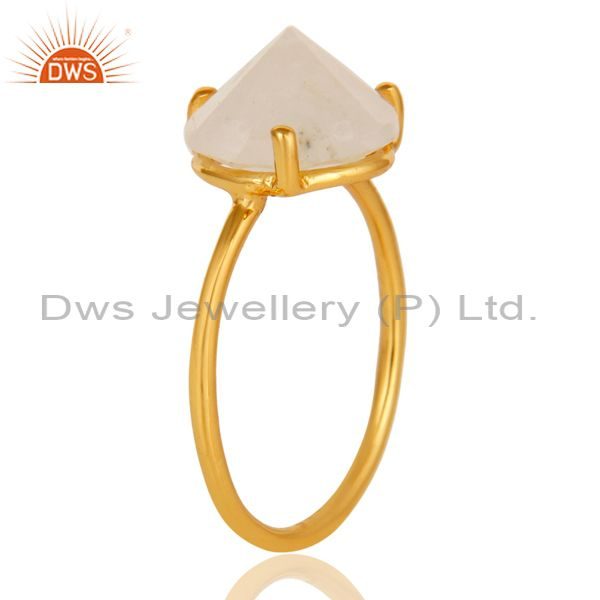 Exporter 22K Yellow Gold Plated Sterling Silver Rainbow Moonstone Stackable Ring