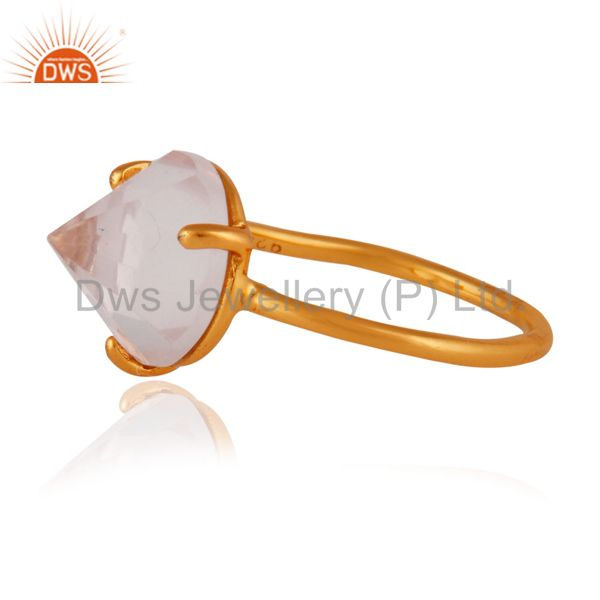 Exporter 24k Yellow Gold Plated 925 Sterling SIlver Natural Rose Quartz Gemstone RIng
