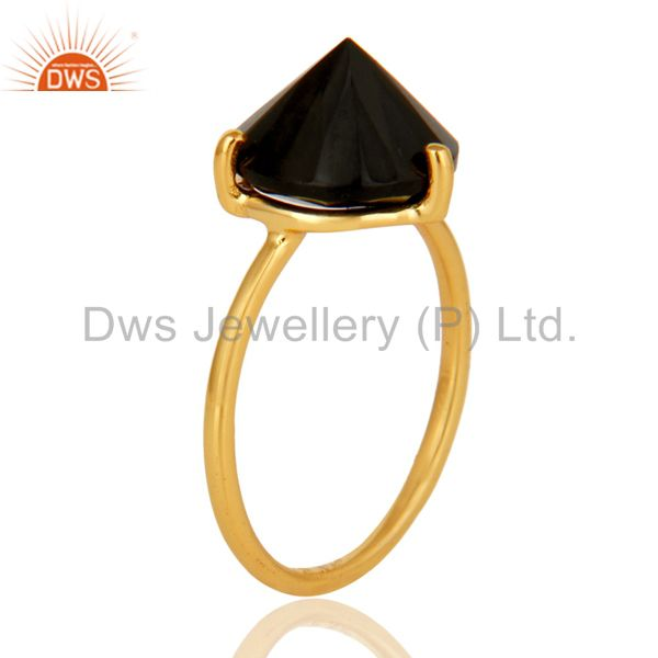 Exporter Natural Semi Precious Stone Black Onyx 925 Sterling Silver 18k Gold Plated Ring