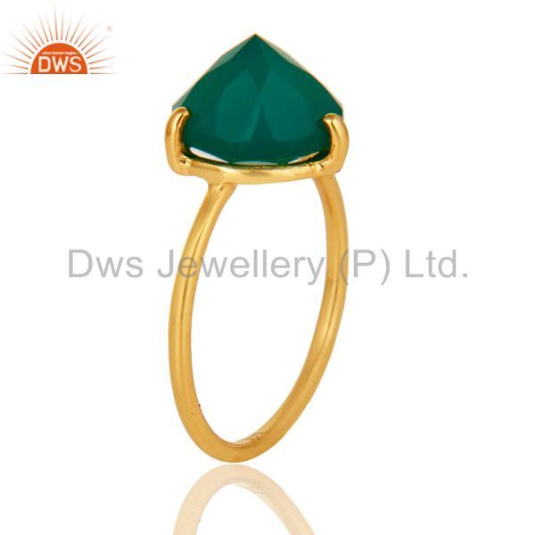 Exporter 22K Yellow Gold Plated Sterling Silver Prong Set Green Onyx Stackable Ring