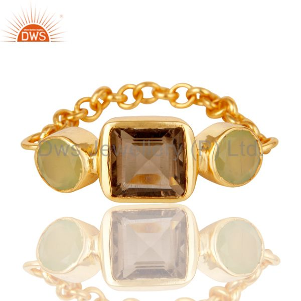 Exporter Designer 22K Gold Plated Sterling Silver Chain Link Ring With Smoky Quartz