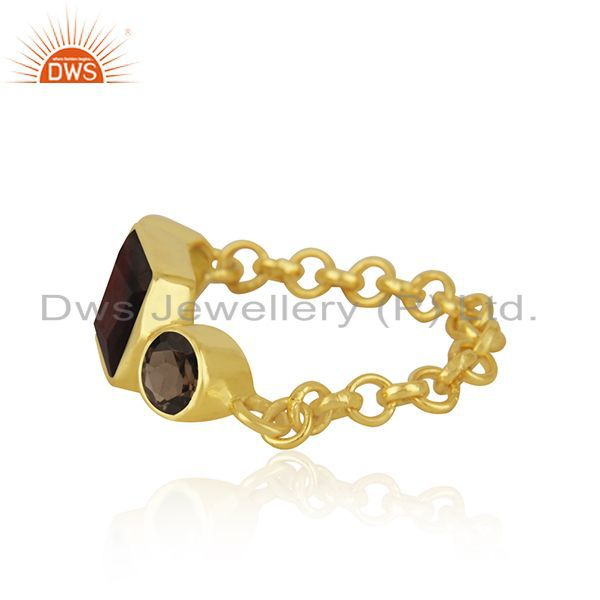 Exporter Smoky Quatrz & Garnet Gemstone Ring With Gold Plated Sterling Silver Chain