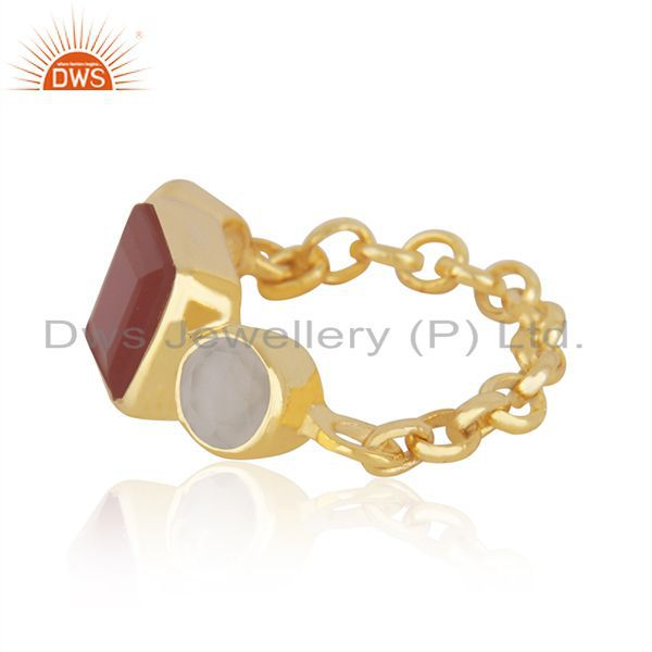 Exporter 22k Gold-Plated Sterling Silver Carnelian & Chalcedony Gemstone Chain Ring