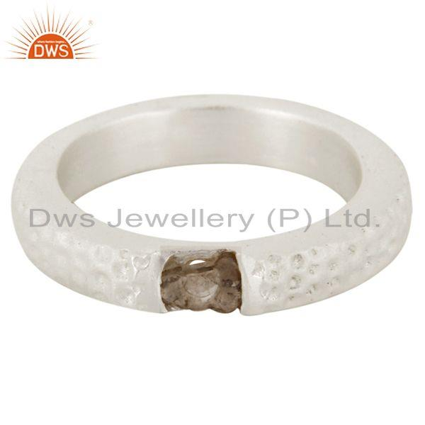 Exporter Genuine 925 Sterling Silver Natural Diamond Textured Engagement Ring