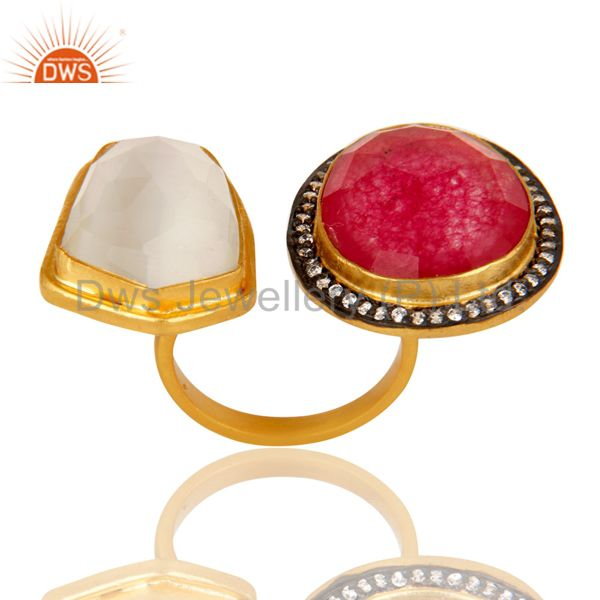 Exporter 18K Yellow Gold Plated Brass White Moonstone And Red Aventurine Fashion Ring