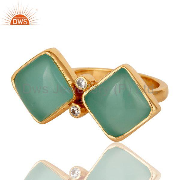 Wholesalers Glass Aqua and Zircon 18K Gold Plated Fashion Ring