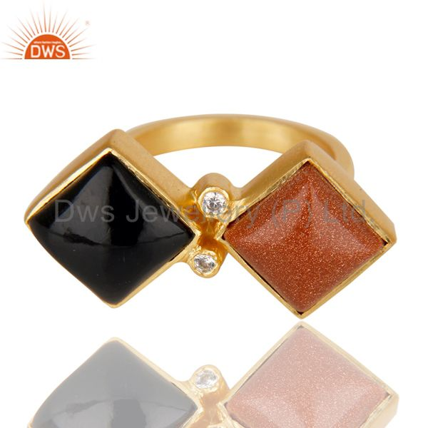 Exporter 14K Yellow Gold Plated Black Onyx Sun Stone & White Zircon Statement Brass Ring