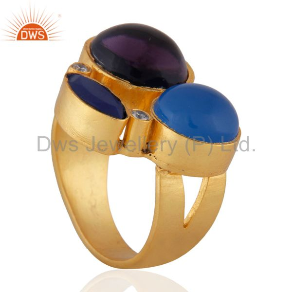 Exporter Amethyst, Lapis Lazuli And Aqua Blue Chalcedony Ring Made In 22K Gold Over Brass