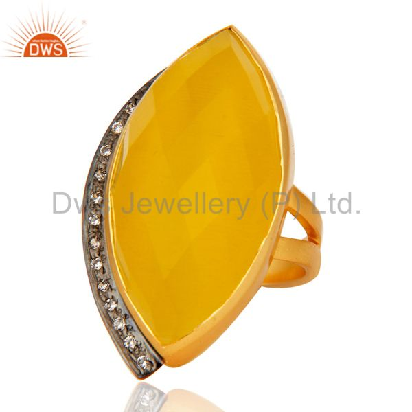 Exporter 18K Yellow Gold Plated Brass Yellow Moonstone Fashion Statement Ring With CZ