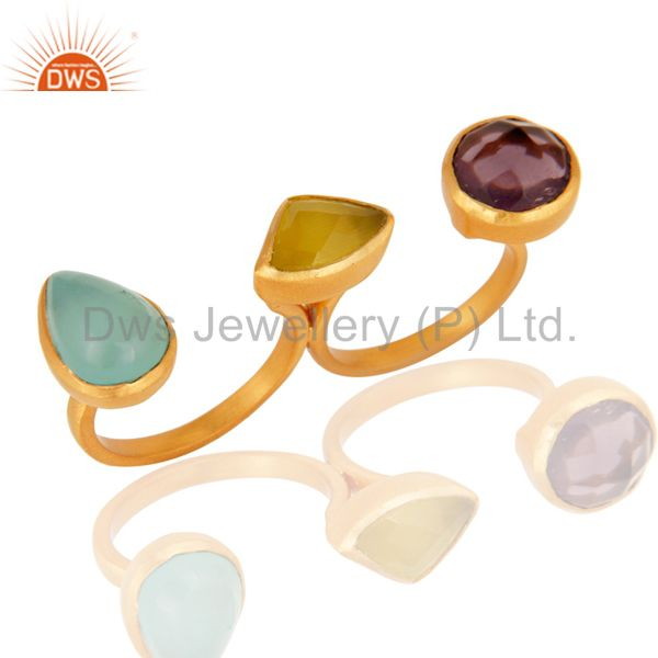 Exporter Aqua Chalcedony, Moonstone And Hydro Double Finger Ring In 22K Gold Over Brass