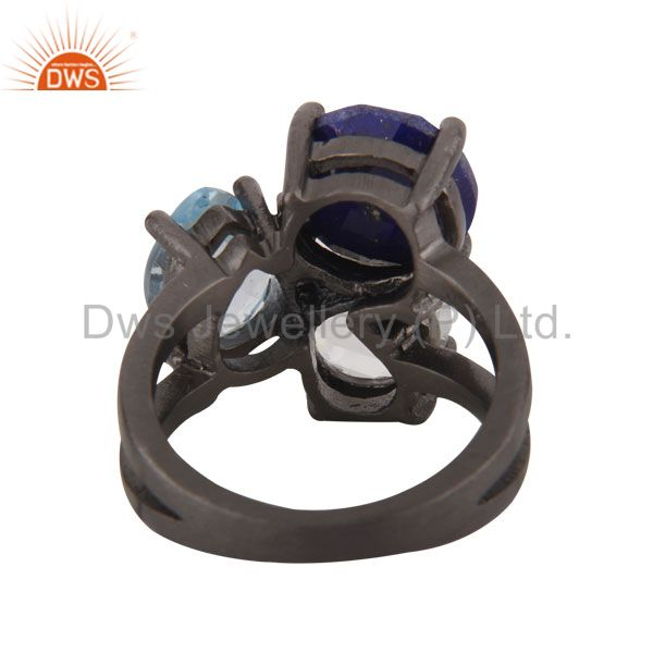 Suppliers Oxidized Sterling Silver Lapis Lazuli, Crystal Quartz And Blue Topaz Prong Ring