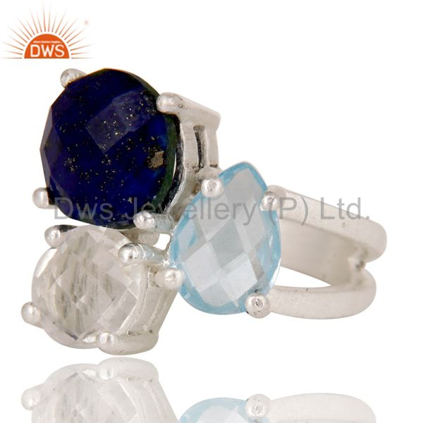 Wholesalers Blue Topaz, Crystal Quartz And Lapis Lazuli Cluster Ring Made In Sterling Silver