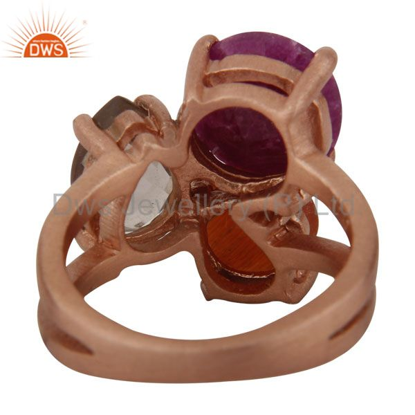 Exporter 18K Rose Gold On Sterling Silver Dyed Ruby, Peach Moonstone & Smoky Quartz Ring