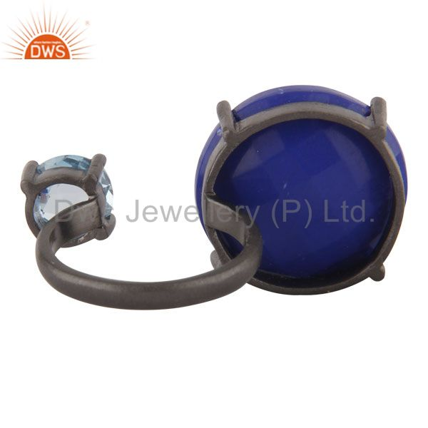 Exporter Oxidized Sterling Silver Lapis Lazuli And Blue Topaz Prong Set Openable Ring