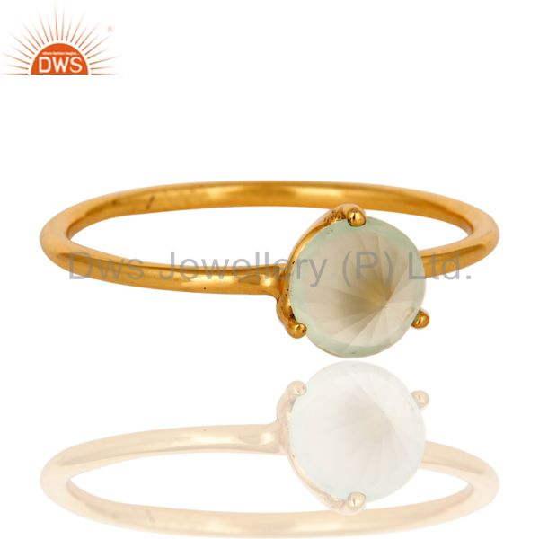 Exporter 14K Yellow Gold Plated Sterling Silver Green Chalcedony Prong Set Stacking Ring