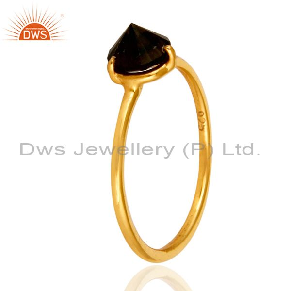 Exporter 14K Yellow Gold Plated Sterling Silver Smoky Quartz Prong Set Stacking Ring
