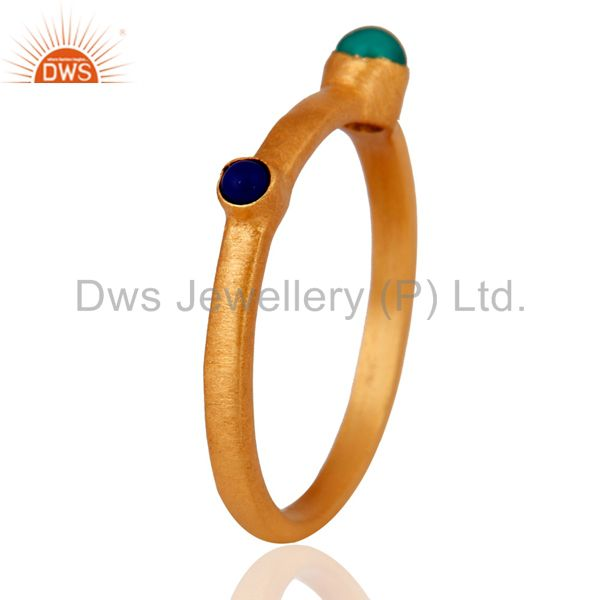 Exporter 18K Gold Plated Sterling Silver Green Onyx And Lapis Lazuli Gemstone Ring