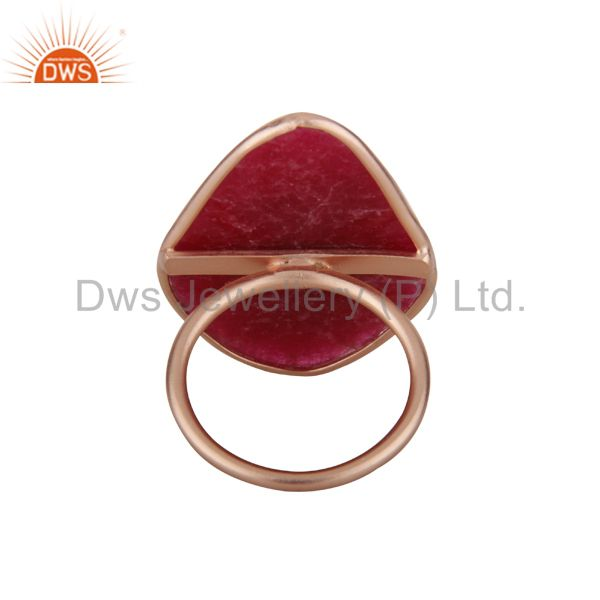 Exporter 18K Rose Gold Plated Sterling Silver Dyed Ruby Gemstone Bezel Set Ring