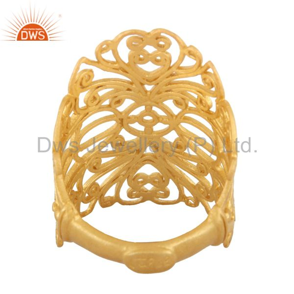 Exporter 18K Yellow Gold Plated Sterling Silver Filigree Long Midi Finger Knuckle Ring