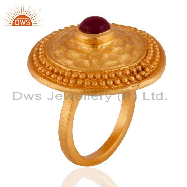 Exporter 22K Yellow Gold Plated Dyed Ruby Granulated Rope Cocktail Brass Ring