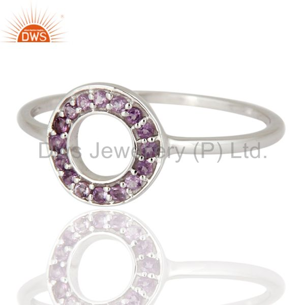 Exporter Ladies 9ct White Gold Amethyst Gemstone Unique Designs Wedding Ring Jewelry