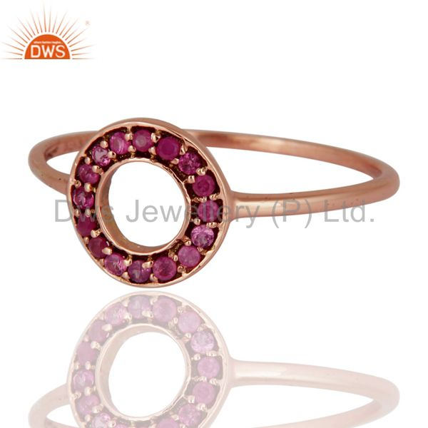 Exporter Solid 9K Rose Gold 0.16 Carat Round Pink Sapphire Gemstone Solitaire Womens Ring