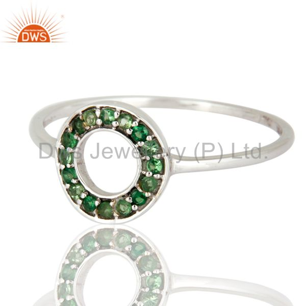 Exporter 9K White Gold Tsavorite Gemstone Pave Circle Design Engagement Ring