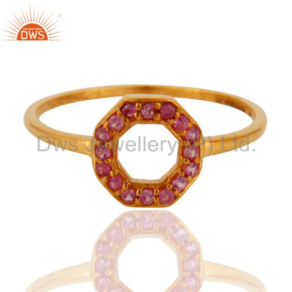 Exporter 9K Yellow Gold Natural Pink Sapphire Womens Band Ring Size 5 to 12 Available
