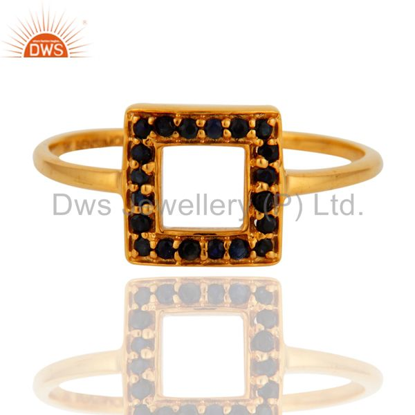 Exporter Gorgeous 9k Solid Yellow Gold Blue Sapphire Wedding Engagement Ring For Women