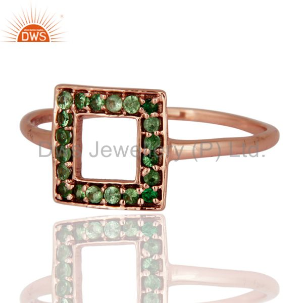 Exporter Natural Tsavorite Green Garnet Gemstone 9Kt. Solid Rose Gold Ring Fine Jewelry