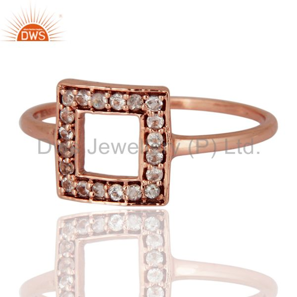 Exporter Natural White Topaz Gemstone 9K Rose Gold Solitaire Ring Wedding Fine Jewelry