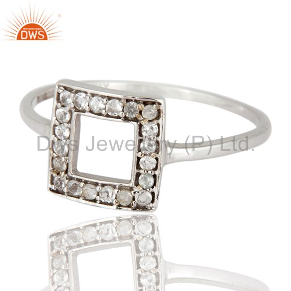 Exporter 9K White Solid Gold Designer White Topaz Engagement Ring