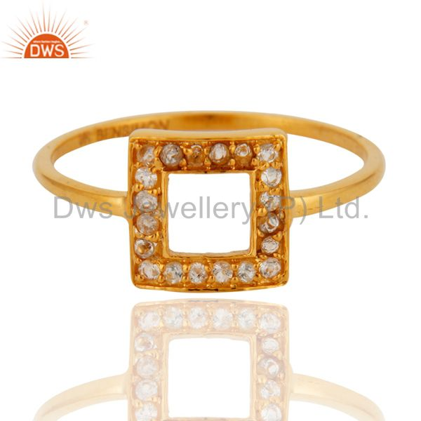 Exporter 9K Solid Yellow Gold Pave Set White Topaz Open Circle Stacking Engagement Ring
