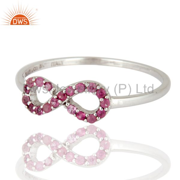 Exporter 9K White Solid Gold Pink Sapphire Engagement and Wedding Ring With Pave Setting