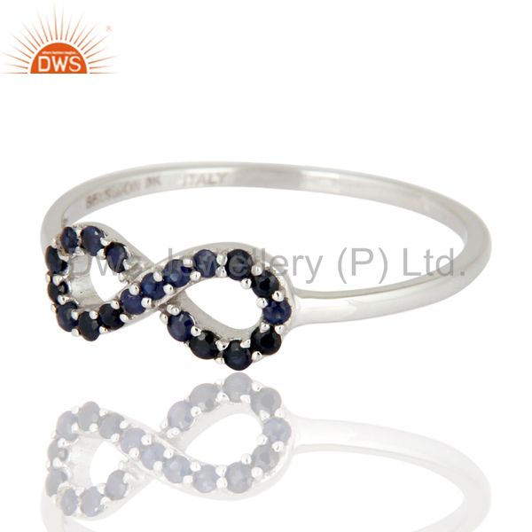Exporter 9K White Gold Blue Sapphire Gemstone Accent Infinity Symbol Ring