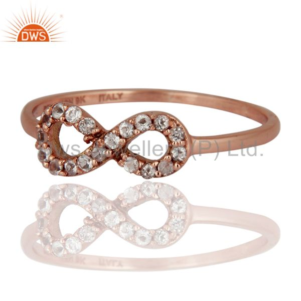 Exporter White Topaz Accent Promise Infinity Ring Made in Solid 9K Rose Gold Jewelry