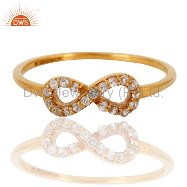 Exporter White Topaz Accent Promise Infinity Ring Made in Solid 9K Yellow Gold Jewelry