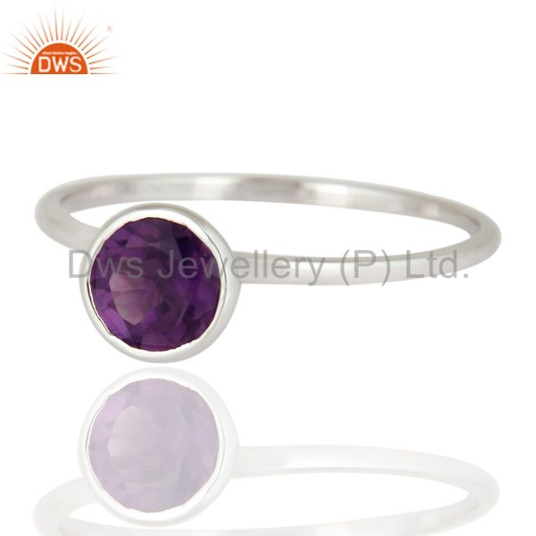 Exporter Handmade 9K Solid White Gold Natural Amethyst Gemstone Engagement Ring Size 8